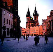Old town square Tyn church at sunset in winter, Prague, Czech republic