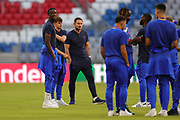 Chelsea Head Coach Frank Lampard Chelsea forward Tammy Abraham (9) and Chelsea midfielder Mason Mount (19) with team mates inspect the pitch ahead of the Champions League round of 16, leg two of two matches between Bayern Munich and Chelsea at Allianz Arena, Munich, Germany on 8 August 2020.