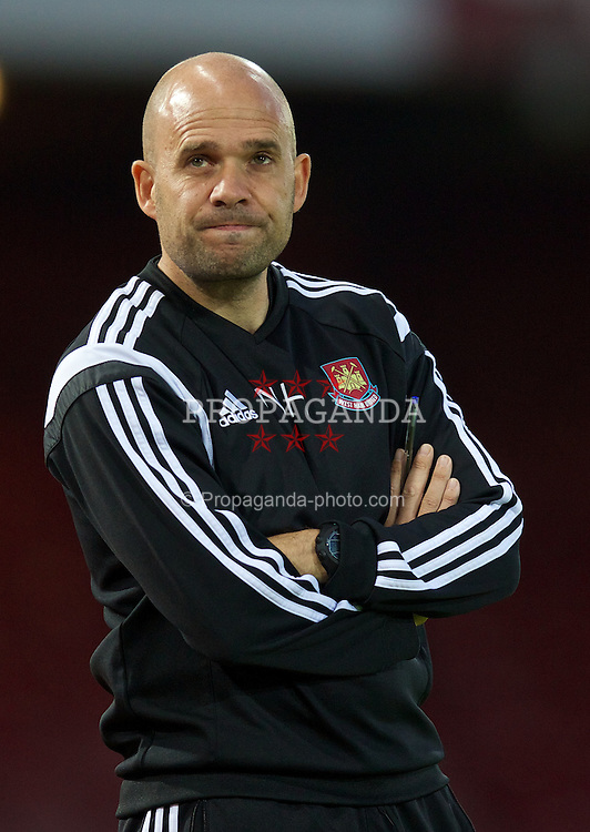 UPTON PARK, ENGLAND - Friday, September 12, 2014: West Ham United's manager Nick Haycock during the Under 21 FA Premier League match at Upton Park. (Pic by David Rawcliffe/Propaganda)