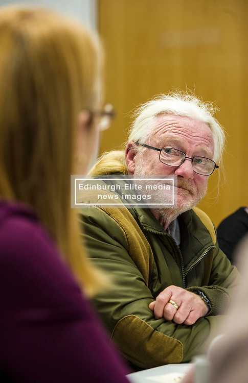 Pictured: David Laird listens carefully to Shirley-Anne Somerville<br /> Today Social Security Secretary Shirley-Anne Somerville visted Prospect Community Housing Association in Wester Hailes, Edurgh, and heard from staff and their clients who are  affected by Universal Credit. <br /> <br /> Ger Harley   EEm 31 October 2018