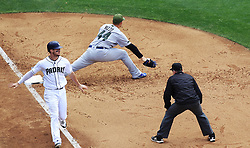 May 29, 2017 - San Diego, CA, USA - San Diego Padres' Wil Myers beats a throw to Chicago Cubs' Anthony Rizzo, which scored a run in the fifth inning on Monday, May 29, 2017 at Petco Park in San Diego, Calif. (Credit Image: © K.C. Alfred/TNS via ZUMA Wire)