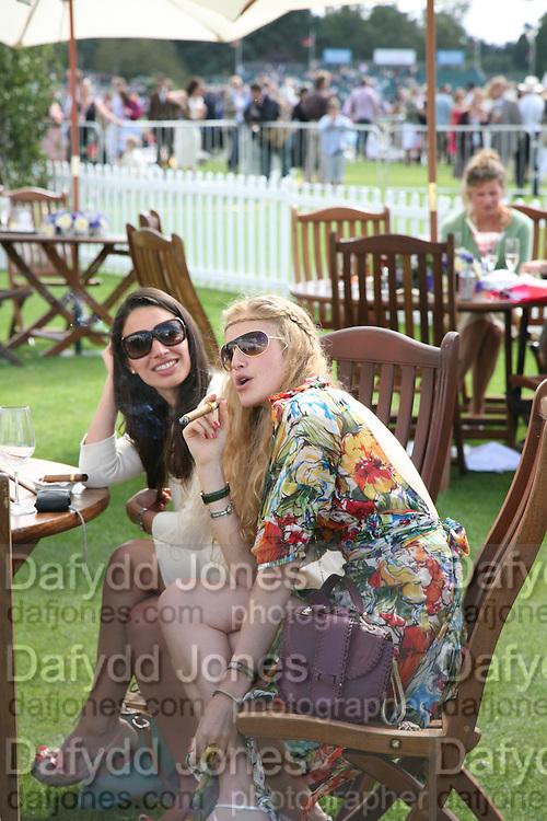 Dr. Sophie Kefi and Dr. Emma Stevenson, Cartier International Polo. Guards Polo Club. Windsor Great Park. 29 July 2007.  -DO NOT ARCHIVE-© Copyright Photograph by Dafydd Jones. 248 Clapham Rd. London SW9 0PZ. Tel 0207 820 0771. www.dafjones.com.