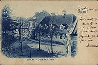 Zagreb : Kipni trg = Agram : Place de la Statue. <br /> <br /> ImpresumZagreb : Papirnica F. X. Hribara, [1899].<br /> Materijalni opis1 razglednica : tisak ; 9,2 x 14,2 cm.<br /> NakladnikPapirnica F. X. Hribar<br /> Mjesto izdavanjaZagreb<br /> Vrstavizualna građa • razglednice<br /> ZbirkaZbirka razglednica • Grafička zbirka NSK<br /> Formatimage/jpeg<br /> PredmetZagreb –– Ilirski trg<br /> SignaturaRZG-ILIR-3<br /> Obuhvat(vremenski)19. stoljeće<br /> NapomenaRazglednica je putovala 1899. godine. • Poleđina razglednice namijenjena je samo za adresu.<br /> PravaJavno dobro<br /> Identifikatori000954197<br /> NBN.HRNBN: urn:nbn:hr:238:832655 <br /> <br /> Izvor: Digitalne zbirke Nacionalne i sveučilišne knjižnice u Zagrebu