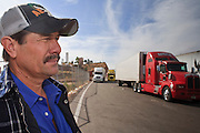 19 DECEMBER 2008 -- NOGALES, SON, MEX: Nicolas Antonio Garcia Castro, a Mexican truck driver, waits with his truck on the Mexican side of the Mariposa port of Entry in Nogales.    PHOTO BY JACK KURTZ