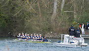 Henley. United Kingdom. Women's reserve race, Dark blue Osiris on the finishing line, 2014 Henley Boat Race, Henley Reach, Annual Women's Boat Race.  River Thames; Sunday  - 30/03/2014  [Mandatory Credit; Peter SPURRIER/ Intersport Images],