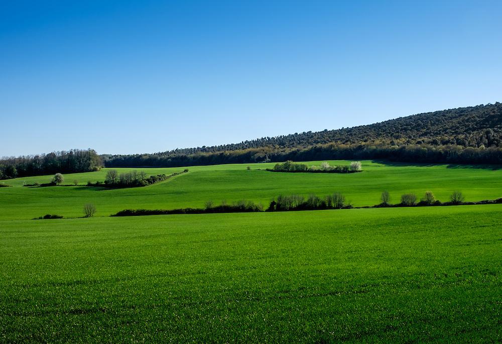 MONTERIGGIONI, ITALY - CIRCA MAY 2015:  Landscape over the hills near San Gimignano in Tuscany