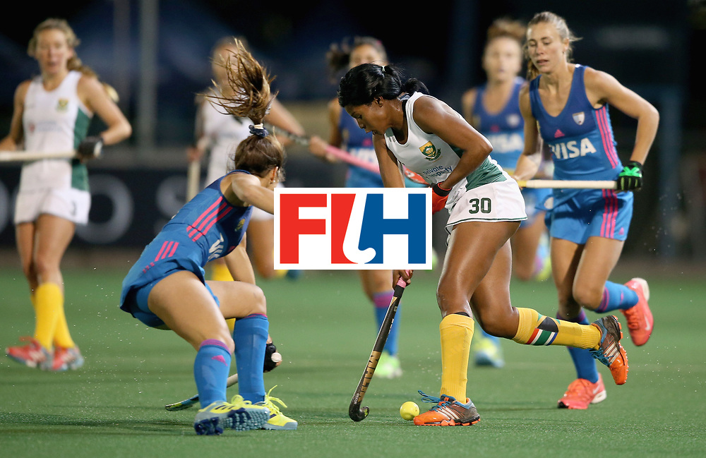JOHANNESBURG, SOUTH AFRICA - JULY 12: Agostina Alonso of Argentina and Sulette Damons of South Africa battle for possession during day 3 of the FIH Hockey World League Semi Finals Pool B match between South Africa and Argentina at Wits University on July 12, 2017 in Johannesburg, South Africa. (Photo by Jan Kruger/Getty Images for FIH)