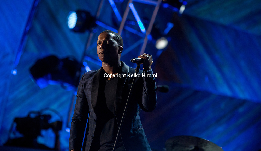 July 3, 2017, Esplanade, Boston, Massachusetts, USA: Leslie Odom Jr performing during a rehearsal concert for the annual Boston Pops Fireworks Spectacular on the Esplanade in Boston.