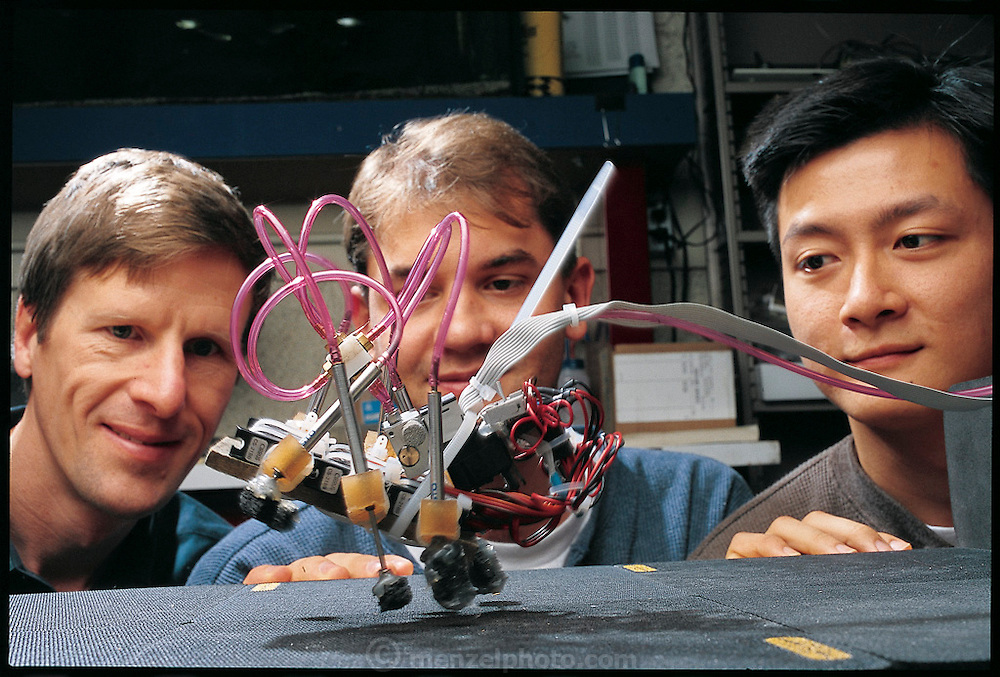 Rather than building an exact metal and plastic copy of an insect's bones and muscles, Stanford engineer Mark Cutkosky and his students Sean Bailey and Jorge Cham (Cutkosky at left) stripped a cockroach to its essence. The Mini-sprawl has padded feet, with springy couplings and pneumatic pistons that yank the legs up and down. Like a real roach, the robot skitters forward as each set of legs touches the surface. The next step: creating a robot that can turn and vary its speed. Stanford, CA. From the book Robo sapiens: Evolution of a New Species, page 99 top.