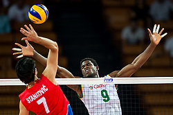 07.09.2014, Centennial Hall, Breslau, POL, FIVB WM, Serbien vs Kamerun, Gruppe A, im Bild Dragan Stankovic serbia #7 Joseph Herve Kofane Boyomo cameroon #9 // Dragan Stankovic serbia #7 Joseph Herve Kofane Boyomo cameroon #9 // during the FIVB Volleyball Men's World Championships Pool A Match beween Serbia and Cameroon at the Centennial Hall in Breslau, Poland on 2014/09/07. EXPA Pictures © 2014, PhotoCredit: EXPA/ Newspix/ Sebastian Borowski<br /> <br /> *****ATTENTION - for AUT, SLO, CRO, SRB, BIH, MAZ, TUR, SUI, SWE only*****