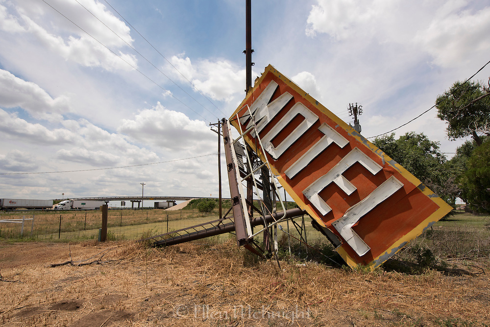 Fallen Motel Sign on Route 66 in Adrian, Texas