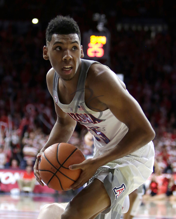 Arizona guard Allonzo Trier (35) in the first half during an NCAA college basketball game against Utah, Saturday, Jan. 27, 2018, in Tucson, Ariz. (AP Photo/Rick Scuteri)