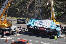 Wellington-Rolled semi truck unit block Ngauranga gorge