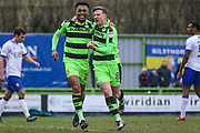 Forest Green Rovers Dayle Grubb(8) scores a goal 2-0 and celebrates with Forest Green Rovers Tahvon Campbell(25) during the EFL Sky Bet League 2 match between Forest Green Rovers and Mansfield Town at the New Lawn, Forest Green, United Kingdom on 24 March 2018. Picture by Shane Healey.