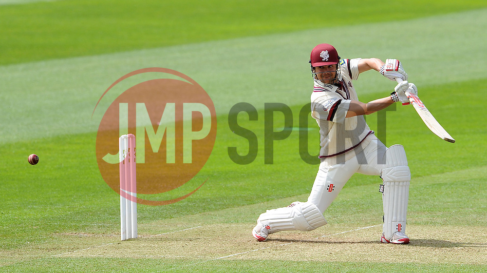 Somerset's James Hildreth cuts the ball Photo mandatory by-line: Harry Trump/JMP - Mobile: 07966 386802 - 09/05/15 - SPORT - CRICKET - Somerset v New Zealand - Day 2- The County Ground, Taunton, England.