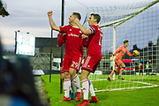 Accrington Stanley celebrate as Accrington Stanley Forward Billy Kee (29) scores 0-1 during the EFL Sky Bet League 2 match between Grimsby Town FC and Accrington Stanley at Blundell Park, Grimsby, United Kingdom on 30 December 2017. Photo by Craig Zadoroznyj.