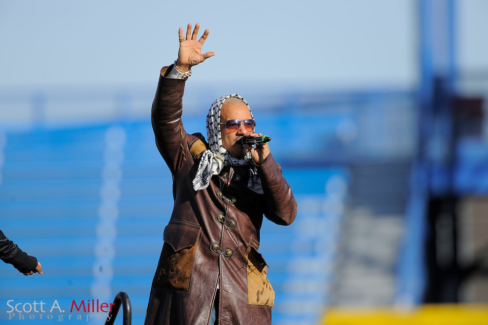 Freedom Williams, co-founder and front man of the international multi-platinum selling group C+C Music Factory, performs prior the United Football League championship game between the Las Vegas Locomotives and the Florida Tuskers at Rosenblatt Stadium on Nov. 27, 2010 in Omaha, Nebraska. The Locos won the game 23-20..©2010 Scott A. Miller