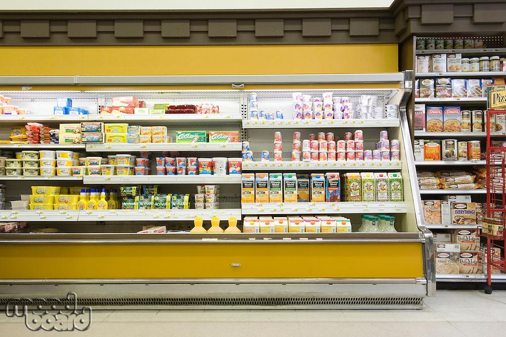 Fridge counter in supermarket