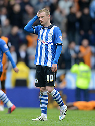 Wigan's Billy McKay looks dejected at the end of the match - Photo mandatory by-line: Richard Martin-Roberts/JMP - Mobile: 07966 386802 - 25/04/2015 - SPORT - Football - Wigan - DW Stadium - Wigan Athletic v Wolverhampton Wanderers - Sky Bet Championship