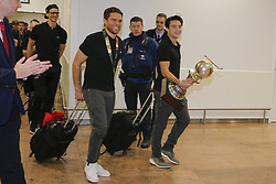 December 18, 2018 - Zaventem, Belgium - The national Belgian field hockey team, the Red Lions, pictured during their arrival at Brussels Airport after they won the Hockey World Cup 2018. (Credit Image: © Panoramic via ZUMA Press)