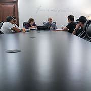 OCTOBER 6, 2017--PONCE, PUERTO RICO ---<br /> Allan Cintron Salichs, Executive Director of Med Centro in Ponce, talks to Direct Relief personnel.<br /> (Photo by Angel Valentin/Freelance)