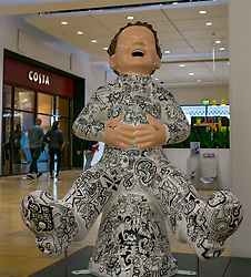 Pictured: Oor Wullie Bucket Art Trail. Leith, Edinburgh, Scotland, United Kingdom, 17 June 2019. An art trail of 200 Oor Wullie sculptures have appeared in Scottish cities overnight in a mass arts event lasting until August 30th. The sculptures will be auctioned to raise money for Scotland's children's hospital charities. There are 5 in the Leith area, and 60 in Edinburgh altogether. The Proclaimers at Ocean Terminal by Vanessa Gibson.<br /> Sally Anderson | EdinburghElitemedia.co.uk