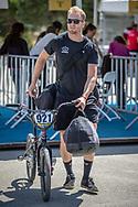 Men Elite #921 (HARMSEN Joris) NED arriving on race day at the 2018 UCI BMX World Championships in Baku, Azerbaijan.