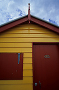 One of the many colored beach cabins in Brighton Beach, near Melbourne