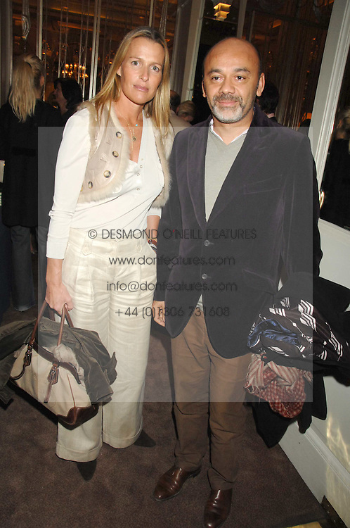 INDIA HICKS and CHRISTIAN LOUBOUTIN at a party to celebrate the publication of Top Tips For Girls by Kate Reardon held at Claridge's, Brook Street, London on 28th January 2008.<br /><br />NON EXCLUSIVE - WORLD RIGHTS