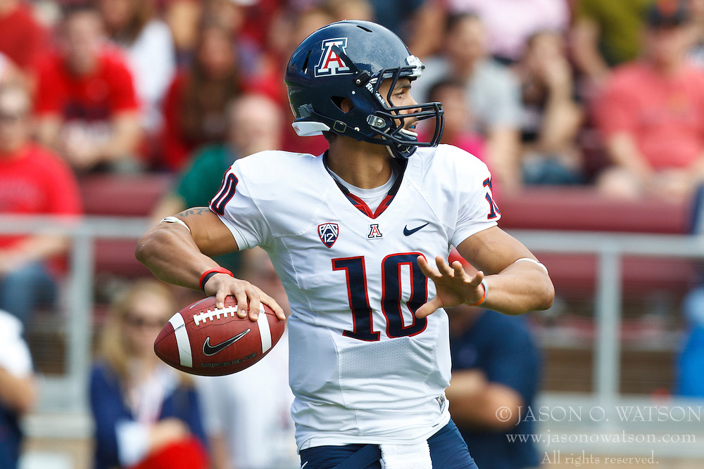 PALO ALTO, CA - OCTOBER 06: Quarterback Matt Scott #10 of the Arizona Wildcats passes the ball against the Stanford Cardinal during the first quarter at Stanford Stadium on October 6, 2012 in Palo Alto, California. The Stanford Cardinal defeated the Arizona Wildcats 54-48 in overtime. (Photo by Jason O. Watson/Getty Images) *** Local Caption *** Matt Scott