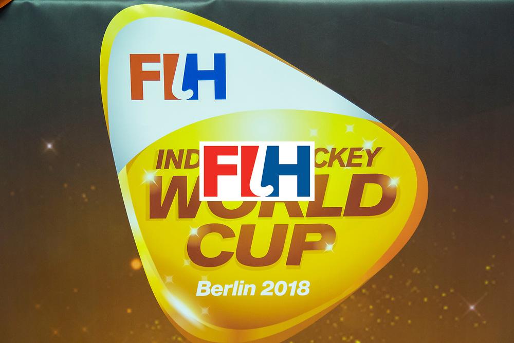 Hockey, Seizoen 2017-2018, 09-02-2018, Berlijn,  Max-Schmelling Halle, WK Zaalhockey 2018 MEN, Germany - Switzerland 3-0, logo IHWC2018 Worldsportpics copyright Willem Vernes