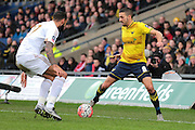 Oxford United midfielder Liam Sercombe and Swansea City defender Kyle Bartley during the The FA Cup third round match between Oxford United and Swansea City at the Kassam Stadium, Oxford, England on 10 January 2016. Photo by Jemma Phillips.