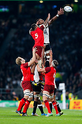 England Lock Courtney Lawes and Fiji Lock Leone Nakarawa compete at a lineout - Mandatory byline: Rogan Thomson/JMP - 07966 386802 - 18/09/2015 - RUGBY UNION - Twickenham Stadium - London, England - England v Fiji - Rugby World Cup 2015 Pool A.