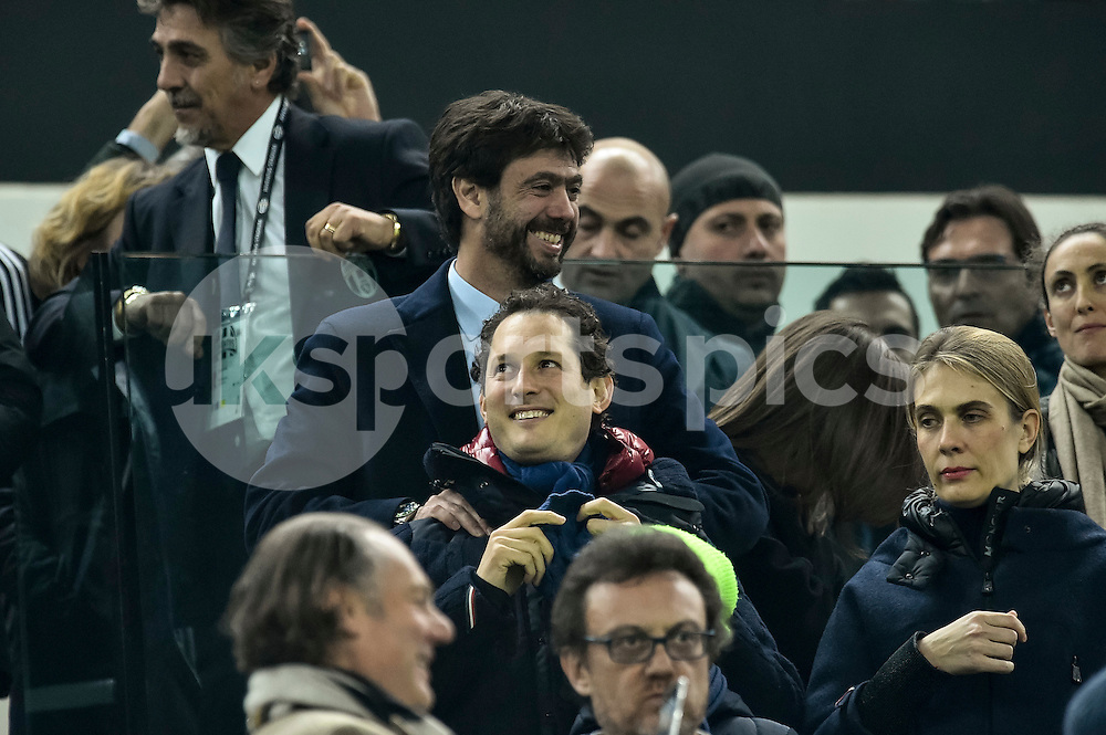 Andrea Agnelli and John Elkan of Juventus during the UEFA Champions League match Round of 16 between Juventus and Bayern Munich at the Juventus Stadium, Turin, Italy on 23 February 2016. Photo by Giuseppe Maffia.
