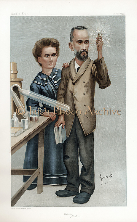 Pierre and Marie Curie. Cartoon from 'Vanity Fair', London, December 1904.  In 1903 Curies shared Nobel prize for physics with Henri Becquerel for work on radioactivity.