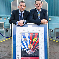 St Johnstone v Ross County...17.11.12      SPL<br /> Chairman Steve Brown receives a signed Eskisehirspor poster from the St Johnstone Business Club.<br /> Picture by Graeme Hart.<br /> Copyright Perthshire Picture Agency<br /> Tel: 01738 623350  Mobile: 07990 594431