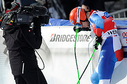 19.01.2013, Lauberhornabfahrt, Wengen, SUI, FIS Weltcup Ski Alpin, Abfahrt, Herren, im Bild Patrick Kueng (SUI) im Ziel // reacts after his run of mens downhillrace of FIS Ski Alpine World Cup at the Lauberhorn downhill course, Wengen, Switzerland on 2013/01/19. EXPA Pictures © 2013, PhotoCredit: EXPA/ Freshfocus/ Urs Lindt..***** ATTENTION - for AUT, SLO, CRO, SRB, BIH only *****