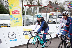 Alice Barnes (GBR) of Team GB rides to the sign-on before Stage 4 of the Healthy Ageing Tour - a 126.6 km road race, starting and finishing in Finsterwolde on April 8, 2017, in Groeningen, Netherlands.