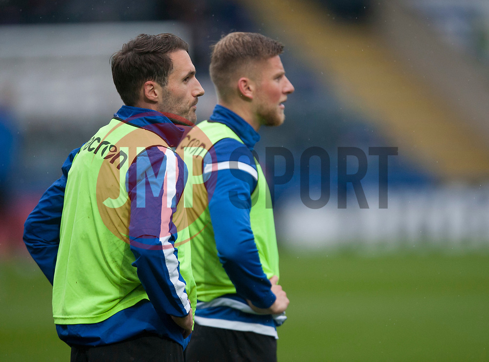 General view as the Bristol Rovers players warm up - Mandatory by-line: Jack Phillips/JMP - 02/11/2019 - FOOTBALL - Crown Oil Arena - Rochdale, England - Rochdale v Bristol Rovers - English Football League One