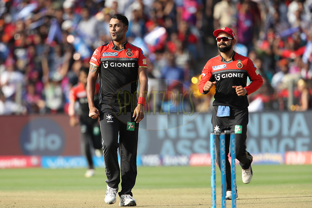 Stuart Binny of the Royal Challengers Bangalore is al smiles after dismissing Rising Pune Supergiant captain Steven Smith during match 34 of the Vivo 2017 Indian Premier League between the Rising Pune Supergiants and the Royal Challengers Bangalore   held at the MCA Pune International Cricket Stadium in Pune, India on the 29th April 2017<br /> <br /> Photo by Ron Gaunt - Sportzpics - IPL