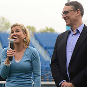 May 15, 2014, New Haven, Connecticut:<br /> Tournament Director Anne Worcester gives remarks during a free tennis lesson and clinic Thursday, May 15, 2014 in advance of the 2014 New Haven Open at the Yale University Tennis Center in New Haven, Connecticut. <br /> (Photo by Billie Weiss/New Haven Open)
