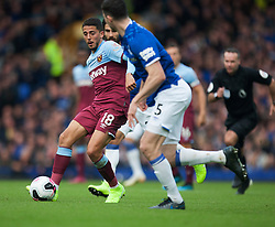 Pablo Fornals of West Ham United (L) in action - Mandatory by-line: Jack Phillips/JMP - 19/10/2019 - FOOTBALL - Goodison Park - Liverpool, England - Everton v West Ham United - English Premier League