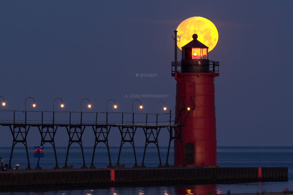 Full Moon Captured on Top of the South Haven Lighthouse