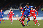 Aaron Amadi-Holloway of Oldham Athletic and  Charlie Raglan of Chesterfield  battle for ball during the Sky Bet League 1 match between Oldham Athletic and Chesterfield at Boundary Park, Oldham, England on 28 March 2016. Photo by Simon Brady.