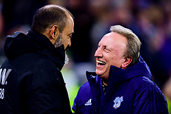 Cardiff City manager Neil Warnock laughs with Wolverhampton Wanderers manager Nuno prior to kick off - Mandatory by-line: Ryan Hiscott/JMP - 30/11/2018 -  FOOTBALL - Cardiff City Stadium - Cardiff, Wales -  Cardiff City v Wolverhampton Wanderers - Sky Bet Championship