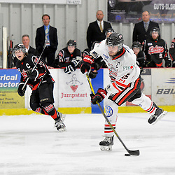 """FORT FRANCES, ON - May 2, 2015 : Central Canadian Junior """"A"""" Championship, game action between the Fort Frances Lakers and the Soo Thunderbirds, Championship game of the Dudley Hewitt Cup.<br /> (Photo by Shawn Muir / OJHL Images)"""