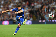Everton midfielder Andre Gomes (21) takes a shot at goal during the Premier League match between Aston Villa and Everton at Villa Park, Birmingham, England on 23 August 2019.