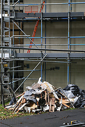 © Licensed to London News Pictures. 18/10/2016. Leeds, UK. The demolition of Jimmy Savile's former penthouse flat, where the disgraced DJ died aged 84 in 2011, has started. Lakeview Court looks over Roundhay Park in Leeds, West Yorkshire. Work will see the demolition of the top floor pentouse appartment, which was bought by Saville in the 1970s. Photo credit : Ian Hinchliffe/LNP