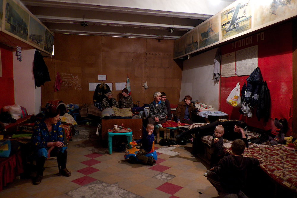 DONETSK, UKRAINE - OCTOBER 22, 2014: Internal Displaced People take shelter in an Soviet era bomb shelter in Petrovskiy district, Donetsk. More than one hundred people have been living for the past four months at the shelter. Many had their homes destroyed during fighting between DNR combatants and the Ukrainian National Guard. CREDIT: Paulo Nunes dos Santos