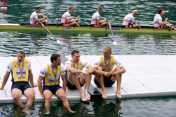 First placed Great Britain's Men's Eight team and in the back Bronze Polish Men's Eight after the medal ceremony in finish area during Final A at Rowing World Cup  on May 30, 2010, at Bled's lake in Zaka, Bled, Slovenia. (Photo by Vid Ponikvar / Sportida)